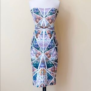 ASOS Strapless Bodycon Sheath Pattern Dress NWT